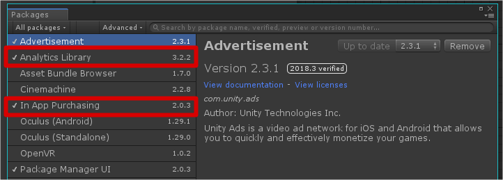 Unity Package Panager - Unity IAP